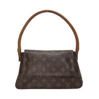 【BRAND OFF 日本二手精品店】LV LOUIS VUITTON 路易威登 原花翻蓋手提肩背包 Mini Looping